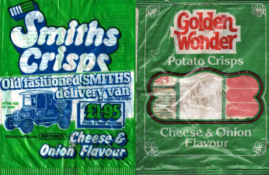Cheese and onion crisp packets