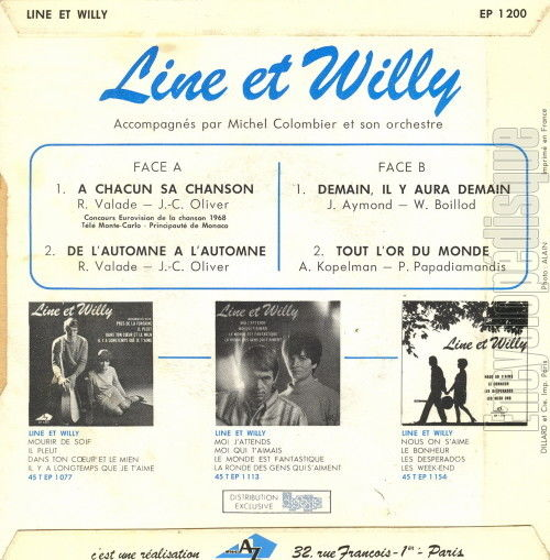 Reverse of the sleeve of Line et Willy's À chacun sa chanson EP