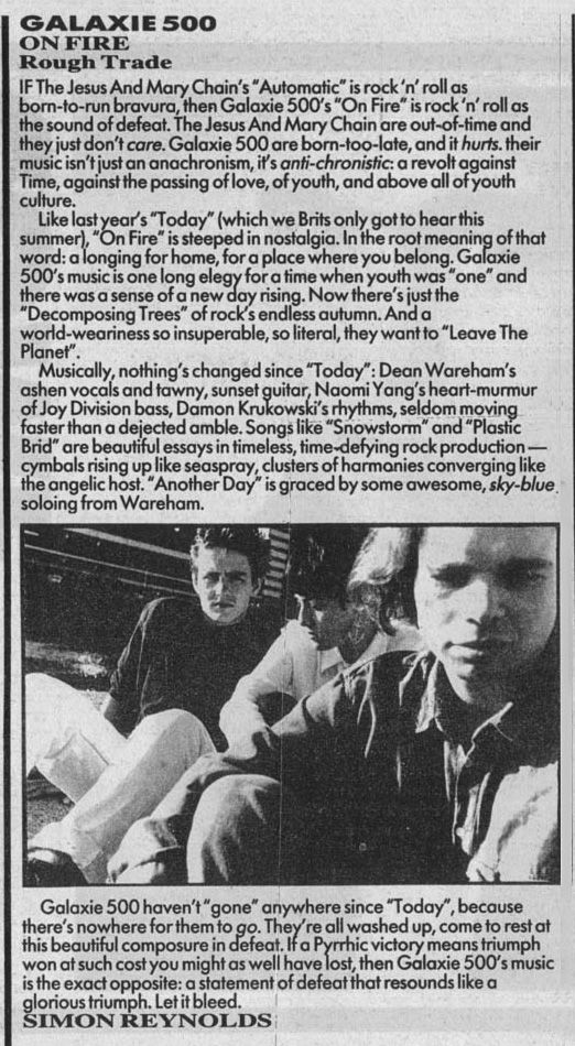 Galaxie 500 Melody Maker review of On Fire