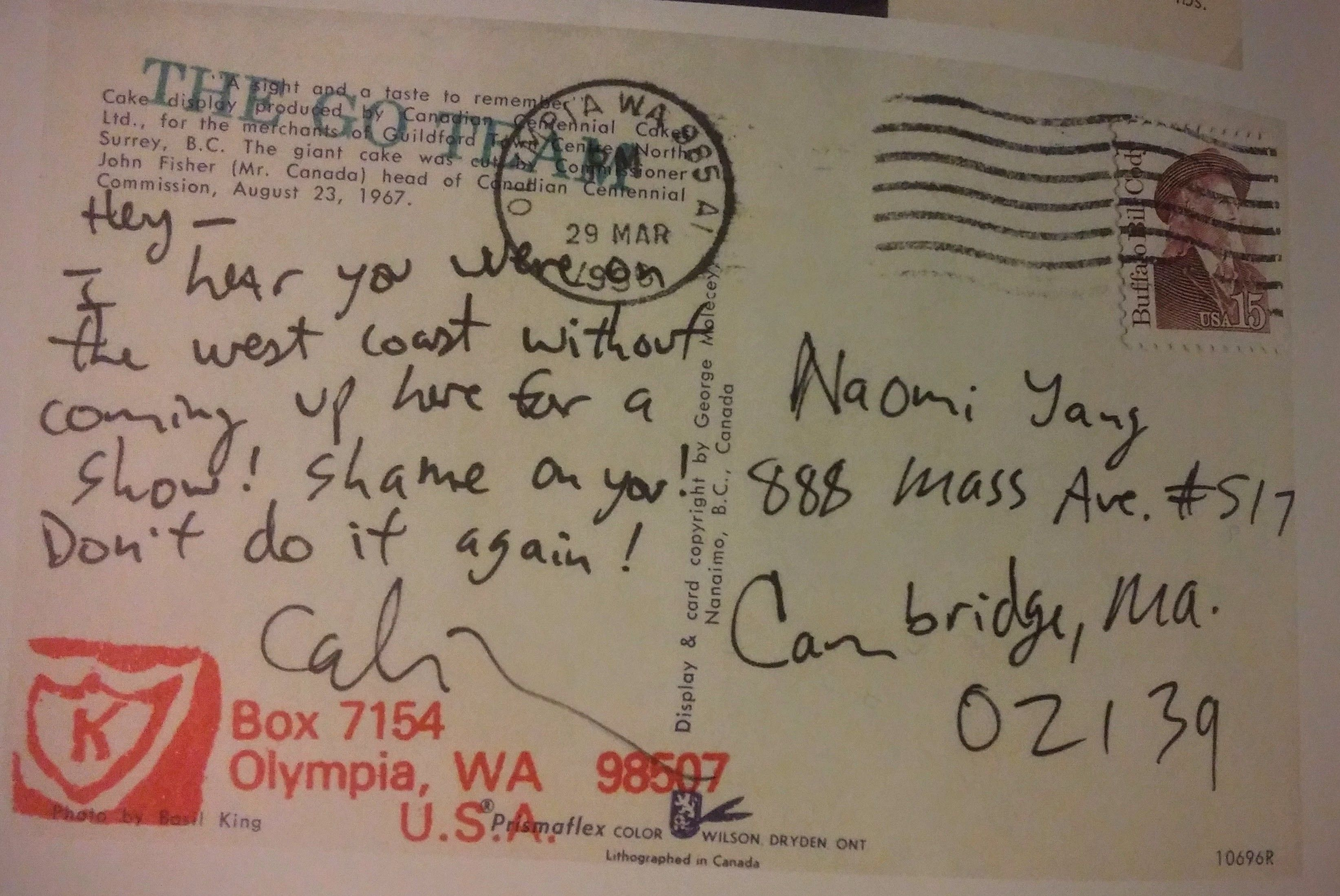 Calvin Johnson postcard to Galaxie 500 (from a few months later)