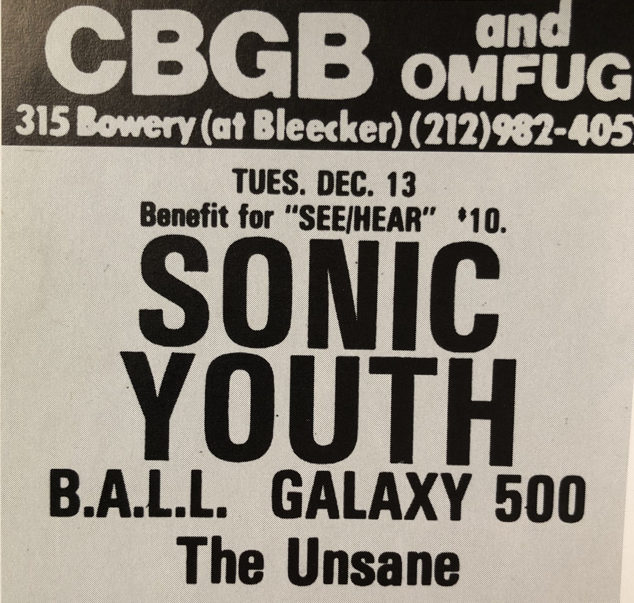 Print ad for the Galaxie 500 show