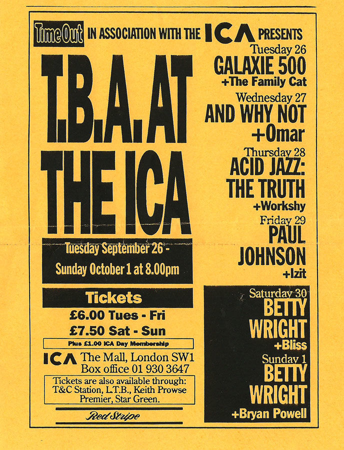 Poster for 26 September 1989 at ICA, London, UK