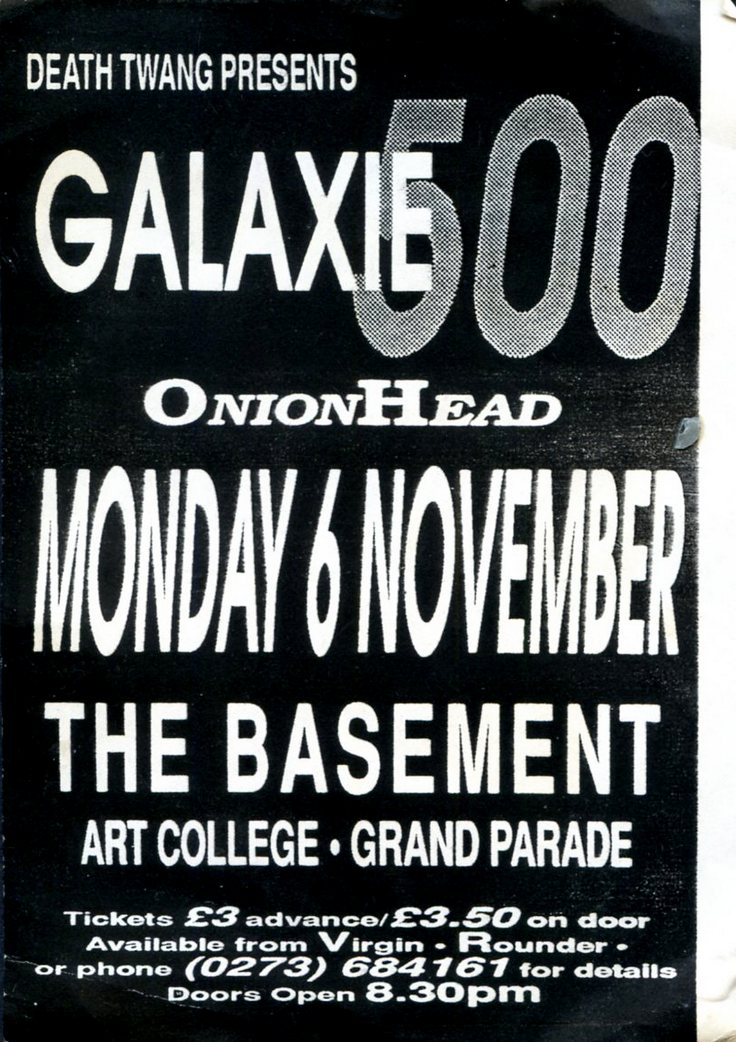 Poster for 6 November 1989 at Basement, Brighton, UK