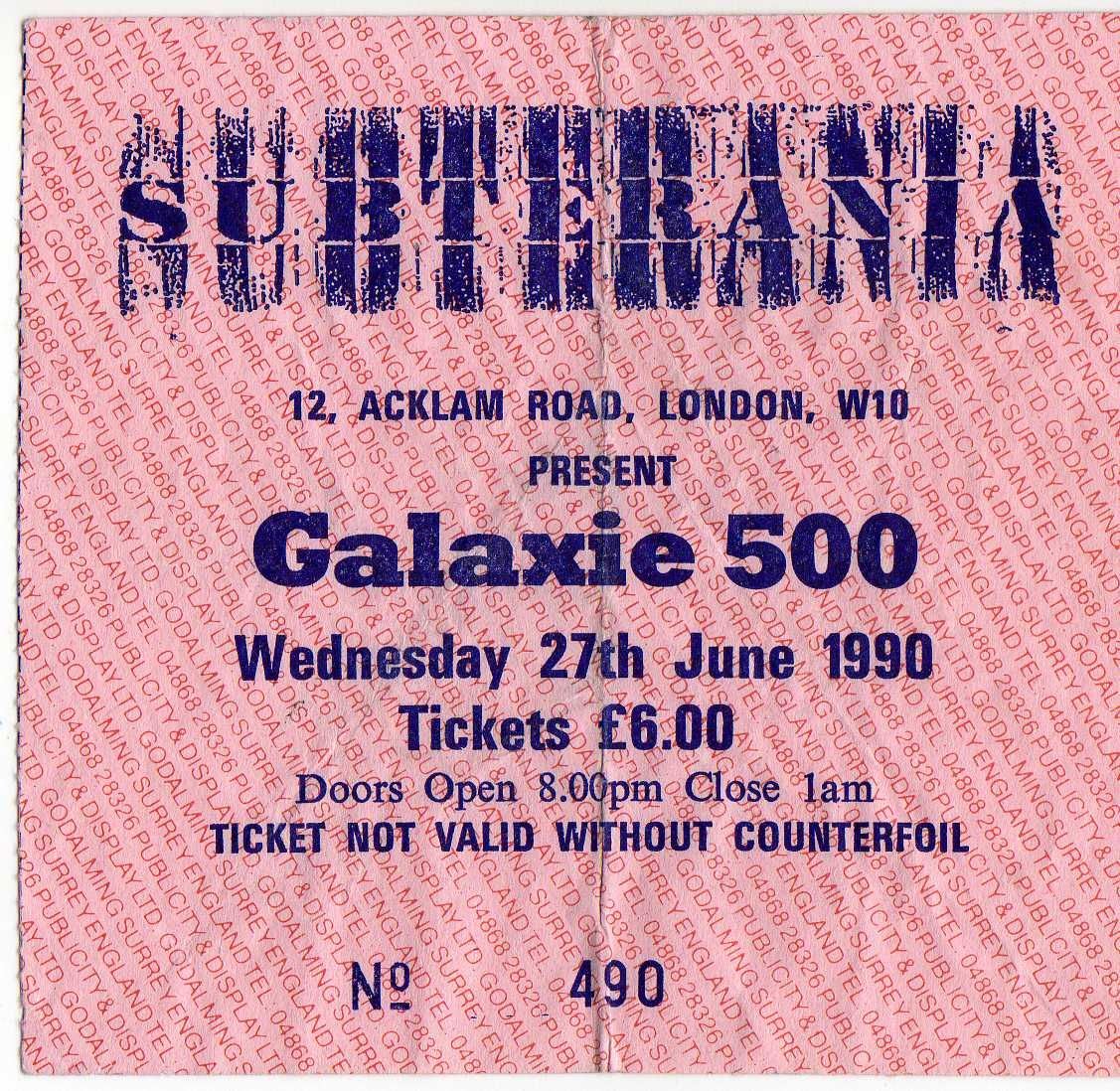Ticket for Galaxie 500 at The Subterania (sadly... not mine)