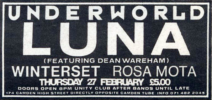 Luna - The Underworld, 27th February 1992 (advert)