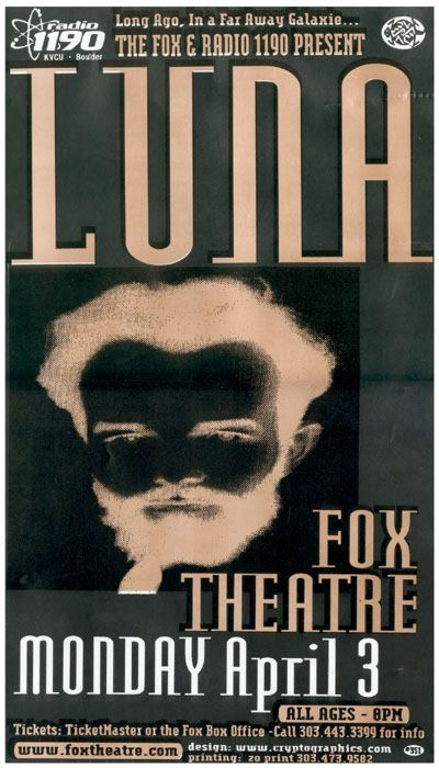 Poster for 3 April 2000 at Fox Theatre, Boulder CO, USA