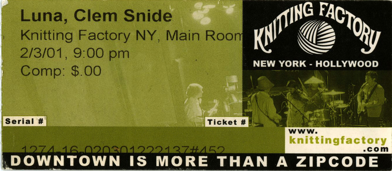 Ticket for Luna in NYC, 2001