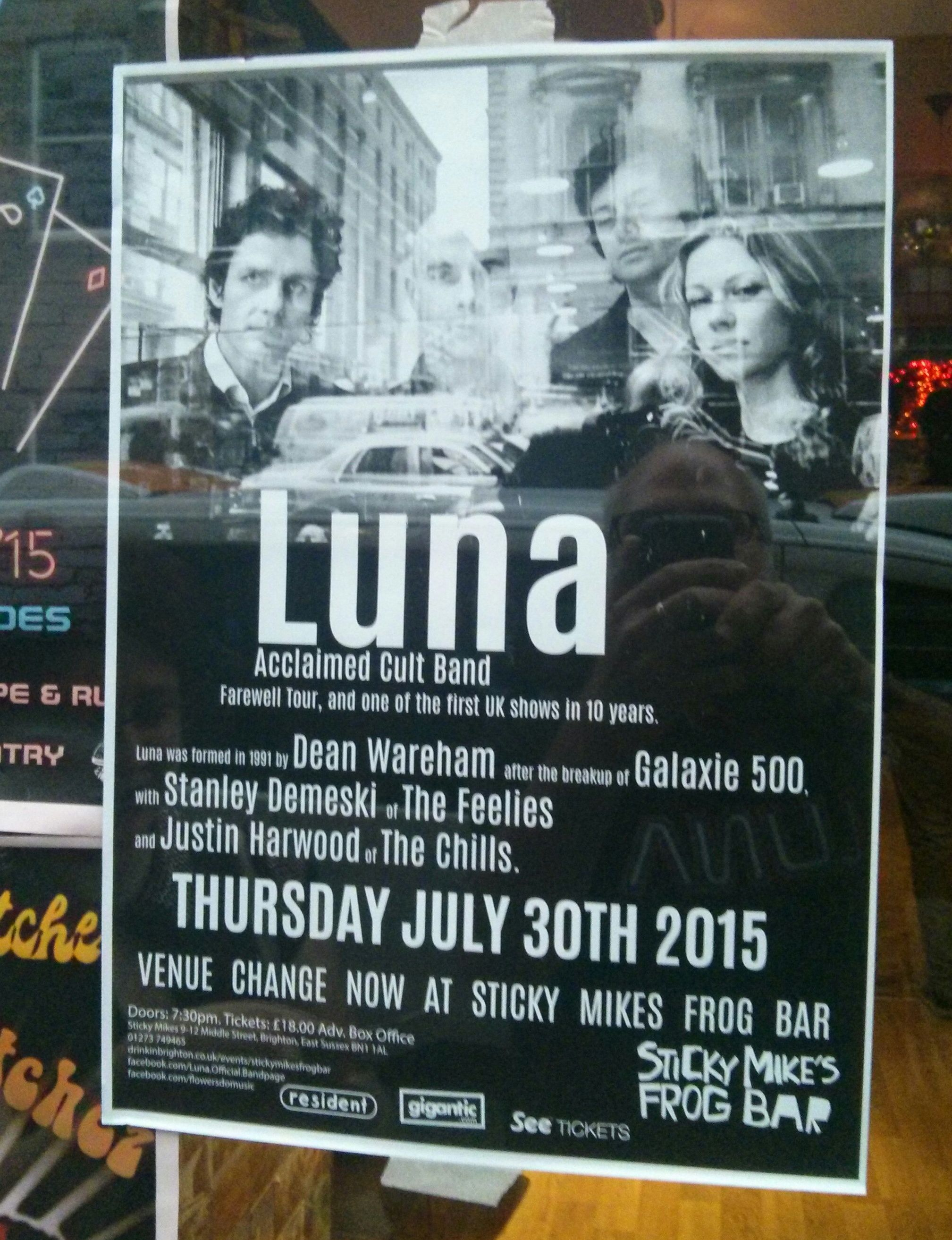 Poster for 30 July 2015 at Sticky Mike's Frog Bar, Brighton, UK