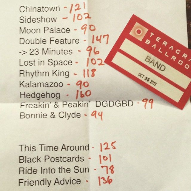 Penthouse set list and pass (Photo: James)