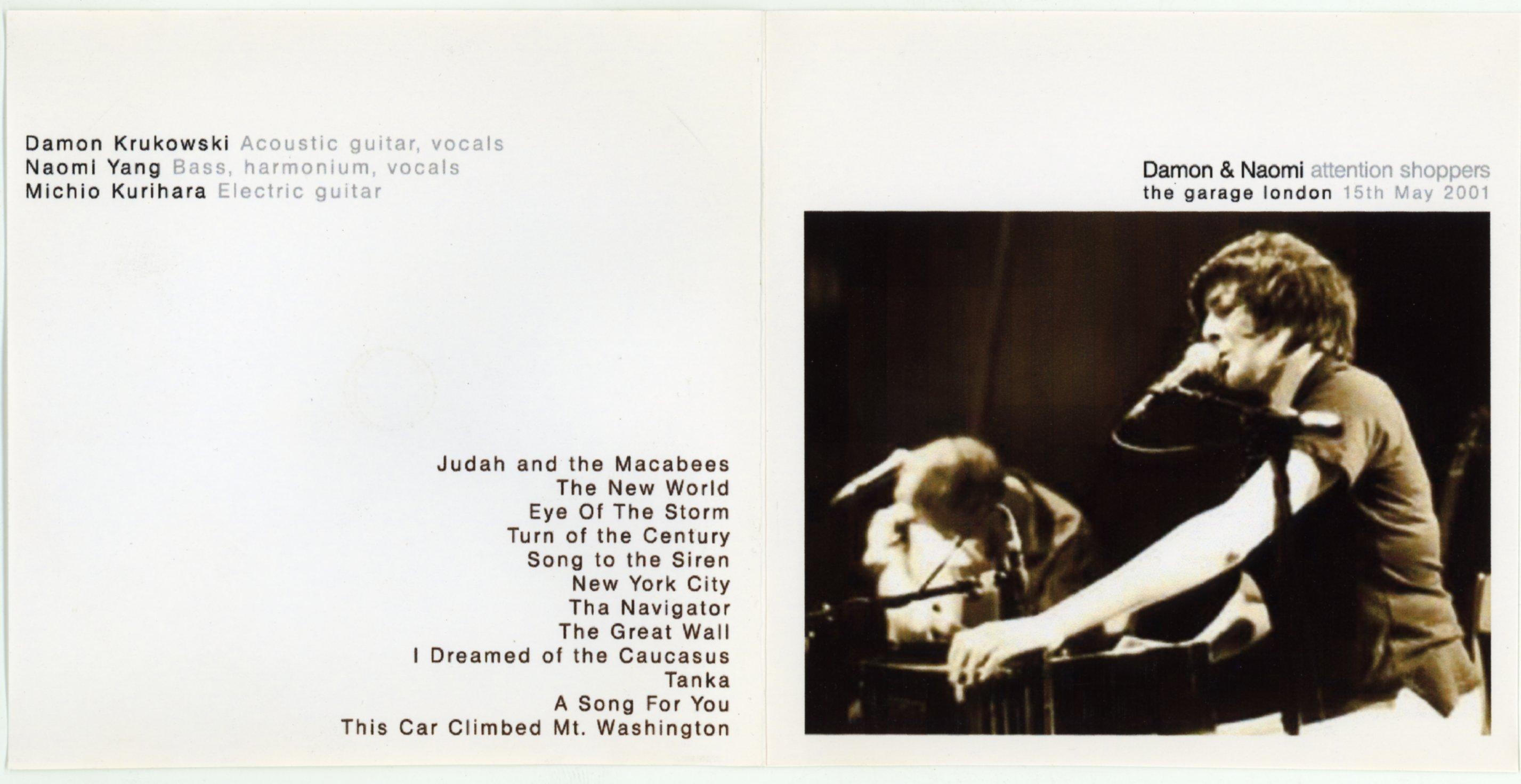 CD booklet for Damon & Naomi in London 2001