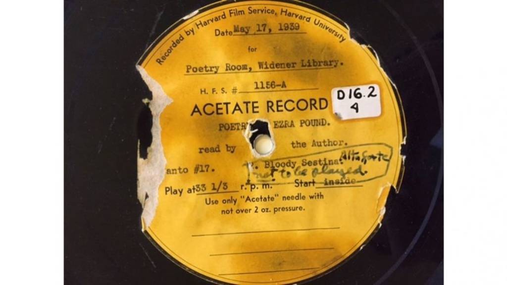 Acetate record containing Ezra Pound reading Sestina