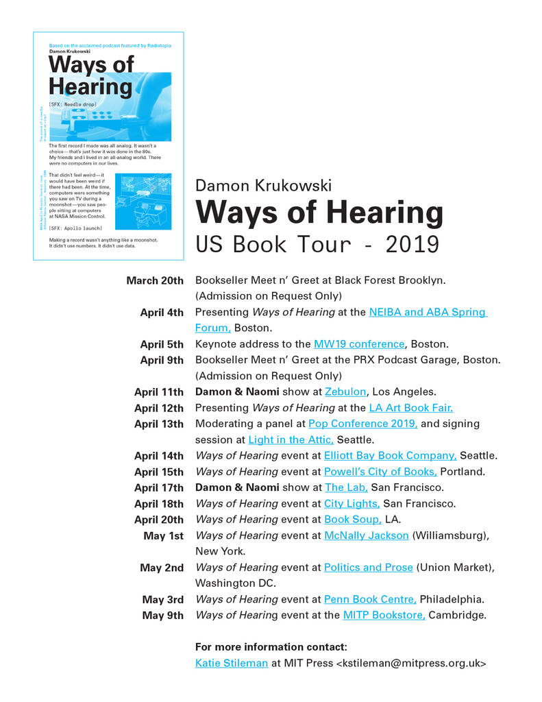 Ways of Hearing book tour poster