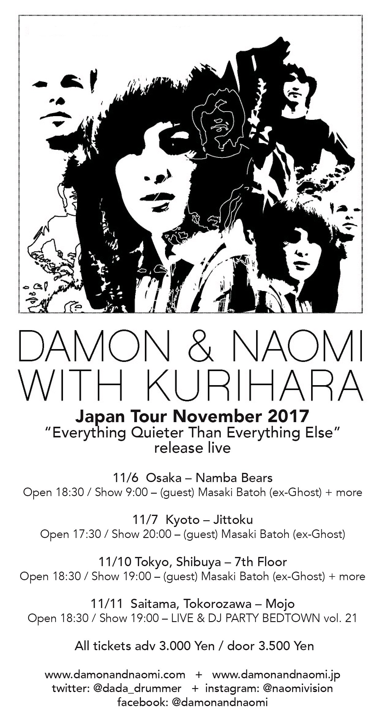 Poster for 6 November 2017 at Namba Bears, Osaka, Japan